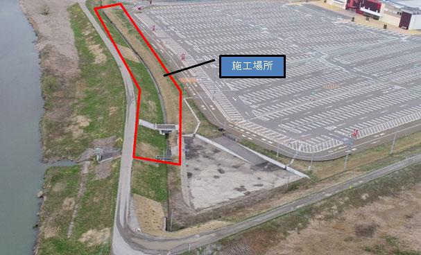 小矢部川・西中野堤防強化工事 着工前